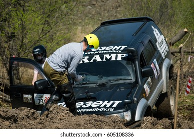 KHABAROVSK, RUSSIA - MAY 14, 2016: Rainforest challenge offroad global series - RFC East Russia race.