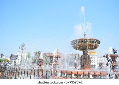 Khabarovsk, Russia - May, 2012: City fountain