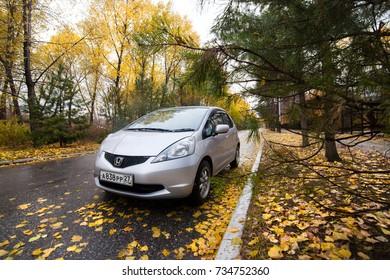 KHABAROVSK, RUSSIA - OCTOBER 14, 2017: HONDA FIT/JAZZ on autumn road