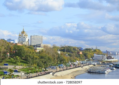 Khabarovsk, Russia - October, 2012: Fall city landscape