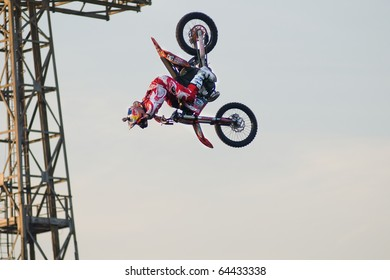 KHABAROVSK, RUSSIA- OCTOBER 9: -Carlo Caresana in action at X Fighters freestyle on October 9, 2010 in Khabarovsk, Russia