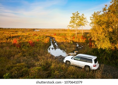 KHABAROVSK, RUSSIA - SEPTEMBER 23, 2009: Subaru Forester on a dirt road in a field