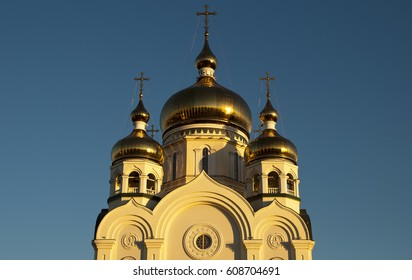 Khabarovsk Russia, Transfiguration Cathedral domes at sunset