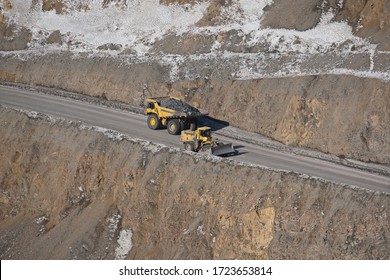 Khabarovsk territory / Russia - 03.22.2018 : Special equipment works on the territory of the gold mine and delivers raw materials.