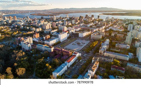 Khabarovsk's , Lenin Square . the view from the top. filmed with a drone