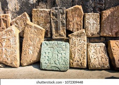 Khachkars, stone crosses in Sevanavank, a monastery complex located on the northwest coast of Lake Sevan in the province of Armenia Gegharkunik, near the city of Sevan in Armenia