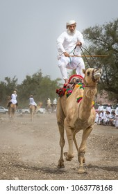 Khadal, Oman, April 7th, 2018: omani man standing upright while racing with his camel in a countryside of Oman