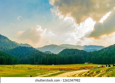 Khajjiar Lake, Himachal Pradesh, India; 14-March-2018; The 'mini' Switzerland of India- with dense forest and the mountain range