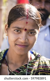 Khajuraho / India 25 February 2017  Portrait of a village Married woman  from the bundelkhand   at khajuraho madhya pradesh India