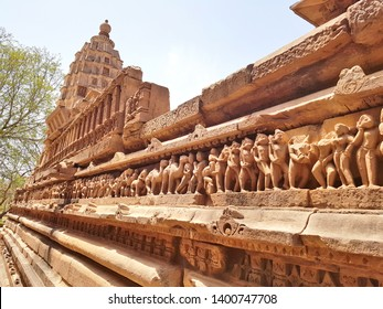 Khajuraho, India - May 14, 2019: The Erotic Sculptures of the Khajuraho Temples. Khajuraho Temples are among the most beautiful medieval monuments in India.