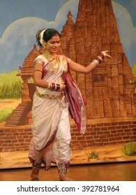 KHAJURAHO, INDIA - NOV 4, 2009 - Indian dancer performs classical dance in Khajuraho, India.