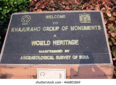 Khajuraho, Madhya Pradesh, India - October 2011: Welcome sign of the Khajuraho Group of Monuments, a UNESCO World Heritage Site.