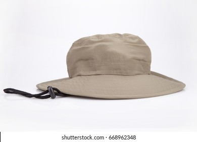 Khaki adventure hat on a white surface. Safari hat isolated on white background.