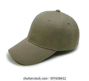 Khaki blank baseball cap closeup of isolated view on white background
