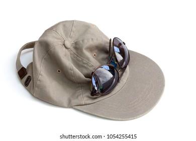 Khaki green baseball hat and dark brown reflective sunglasses, on white