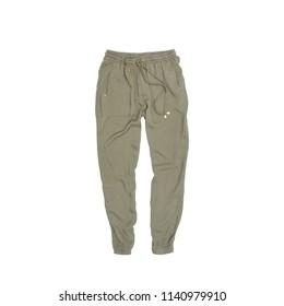 Khaki pants on a white background. Isolate. Fashionable concept