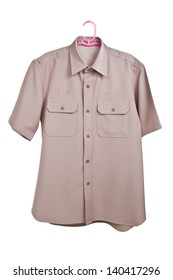Khaki shirt uniform isolated on white background with clipping path