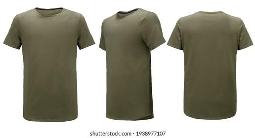 Khaki t-shirt isolated on white background. Template