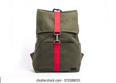 A khaki(green) and red back pack(bag) for student on the bottom isolated white.