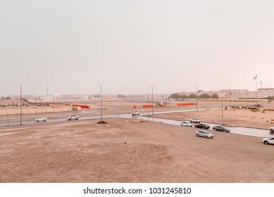 Khalifa City A, Abu Dhabi, UAE - 2017 - Rain falls on Khalifa City A in AbuDhabi, UAE.