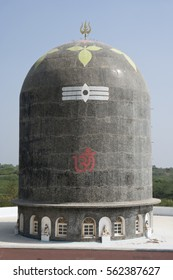 KHAMBHAT, GUJARAT / INDIA - JANUARY 11, 2017 : A HUGE BLACK COLOR STONE STRUCTURE KNOWN AS SHIVALINGA, FOUND NEARBY THE GODDESS SIKOTARA MATA TEMPLE IN RALAG VILLAGE, IN KHAMBHAT, INDIA.
