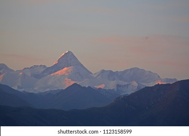 Khan Tengri Peak. Three borders of Kazakhstan, Kyrgyzstan and China converge here