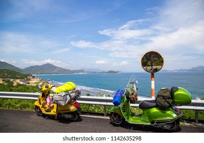 Khanh Hoa, Viet Nam - Nov 12, 2017: Vespa GTS motorbike is on the road in roadtrip and test ride in Vietnam.