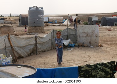 KHANKE REFUGEE CAMP, DOHUK, KURDISTAN, IRAQ - 2015 JULY 30 - Unidentified refugee in Khanke (khanke) camp near Dohuk in Northern Iraq