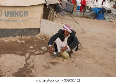KHANKE REFUGEE CAMP, DOHUK, KURDISTAN, IRAQ - 2015 JULY 30 - Unidentified refugees in Khanke (khanke) camp near Dohuk in Northern Iraq