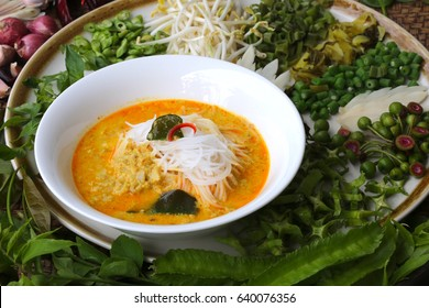 Khanom Jin Nam Ya Pla is rice noodles with fish curry sauce