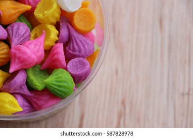 Khanom Thai Aalaw  colorful candy beautiful background