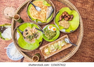 Khantoke traditionally meal set popular local Thai food in North of Thailand