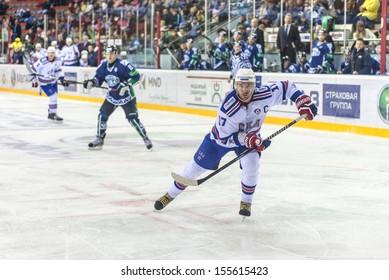 KHANTY-MANSIYSK, RUSSIA, SEPTEMBER 10: Ilya Kovalchuk #17, during SKA  St. Petersburg   vs YUGRA Khanty-Mansiysk in regular KHL championship. September 10, 2013 in Khanty-Mansiysk, Russia