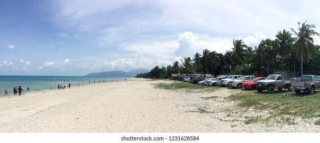 Khao Kho Beach in Khanom District Nakhon Si Thammarat, 13 April 2017  Songkran festival, tourists come to play the sea at Khanom Kho beach. The water is not very deep, the water is not dangerous.