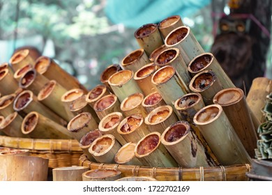 Khao Larm, Thai food, roasted sticky rice in the bamboo tube