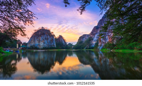 Khao Ngoo, Landscape Mountain View in Ratchaburi with sunrise at Ratchaburi. Snake Mountain Thailand