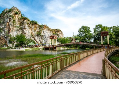 Khao Ngoo Rock Park Mountain landmark in Ratchaburi, Thailand