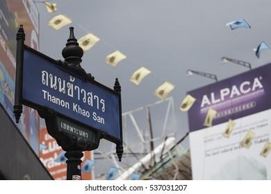 KHAO SAN ROAD, BANGKOK, THAILAND - SEPTEMBER 2016: Street sign in Khao San Road (Thanon = road) , the backpacker center of Bangkok.