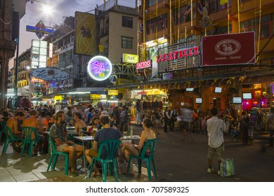 Khao San Road, Thailand - March 31, 2014:Tourists are drinking at Khao San Road, Bangkok, Thailand