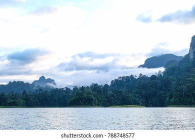 khao sok Chiewlarn national park , Beautiful mountains and river in Ratchaprapha Dam at suratthani,Thailand