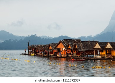 Khao Sok, Thailand - March 31, 2018: Raft houses on the Khao Sok National Park Lake in Thailand. This is popular form of accommodation for tourists and locals.