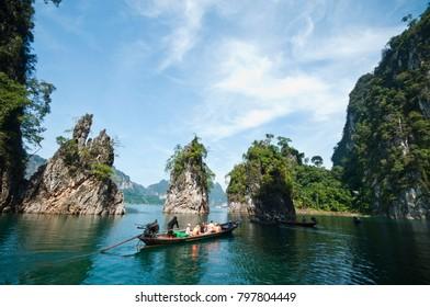 Khao Sok,Ratchaprapa Dam ,Chaew Lan Dam,Fishing Boat