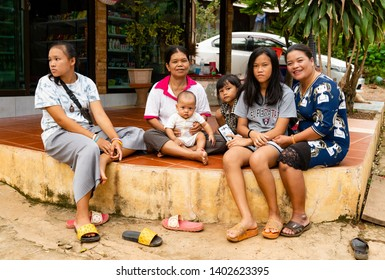 Khao Yai, Pak Chong / Thailand - May 20, 2019 : Locals of relaxing and smiling for the camera. Pak Chong is the largest district of Nakhon Ratchasima and part of Thailand's largest national park