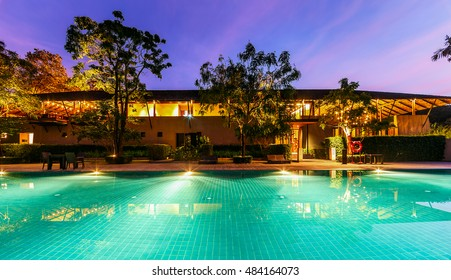 KHAO YAI, THAILAND - DEC 19: Lobby and Main Swimming pool of Muthi Maya Forest Pool Villa on Dec 19, 2015 in Khao Yai, Thailand. It's 7th most romantic resort of the world, reported by Reuters.