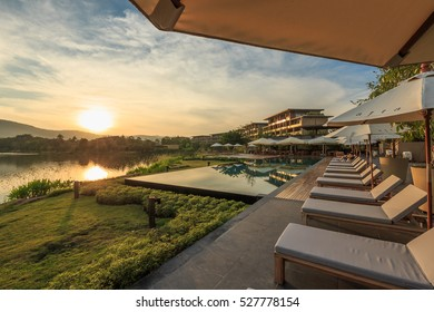 KHAO YAI, THAILAND - DEC 20: Landscape of Atta the Resort Khao Yai on Dec 20, 2015 in Khao Yai. It is the new property under Kirimaya property, surrounded by jungle-clad Khao Yai mountains.