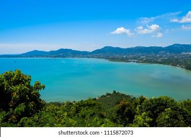 Khao-Khad Viewpoint, Seascape of phuket beach Thailand. Opposite big buddha on mountain landmark of phuket thailand.