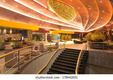 KHAOLAK, THAILAND - NOV 1 : Lobby of the SENTIDO Graceland Khao Lak Resort & Spa.  is located on Bangsak Beach and is located 90 kilometres north of Phuket, on November 1, 2013 in Khaolak, Thailand