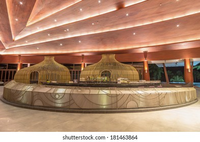 KHAOLAK, THAILAND - NOV 1 : Lobby and bar of the SENTIDO Graceland Khao Lak Resort & Spa.is located 90 kilometres north of Phuket, on November 1, 2013 in Khaolak, Thailand