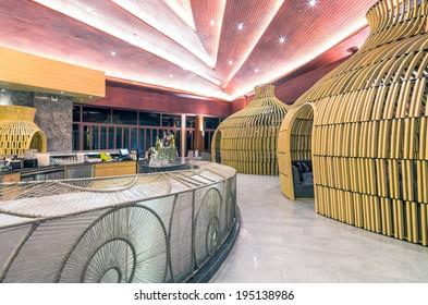 KHAOLAK, THAILAND - NOV 1 : Lobby of the SENTIDO Graceland Khao Lak Resort & Spa.is located on Bangsak Beach and is located 90 kilometres north of Phuket, on November 1, 2013 in Khaolak, Thailand