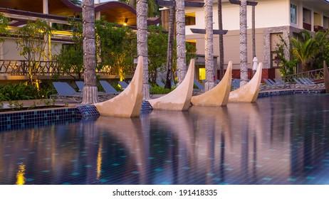 KHAOLAK, THAILAND - NOV 2 : Architecture exterior of the SENTIDO Graceland Khao Lak Resort & Spa.is located 90 kilometres north of Phuket, on November 2, 2013 in Khaolak, Thailand
